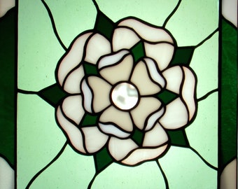 House of York Rose Stained Glass Hanging Window