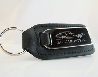 Jaguar E Type Keyring, Engraved Jaguar E Type Car on Leather Keyring, E Type Keychain, JAguar E Type Key Chain, Jaguar Key Fob, Gift Idea