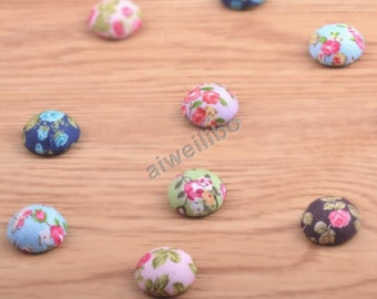 Mixed Color Fabric Buttons, Covered Buttons, Classic button, Flat Back Buttons