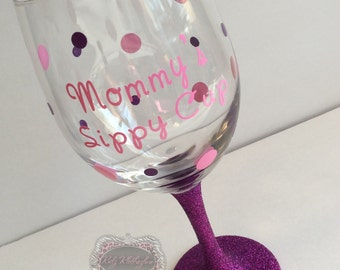 Glitter Wine Glass Mommy's Sippy Cup Glitter Wine Glass Baby Shower Gift Mommy to be gift new mommy gift hospital gift Mothers Day Gift