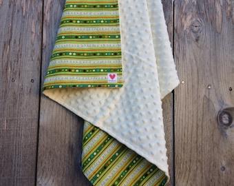 Modern baby blanket - Baby boy minky blanket - Green striped baby boy blanket