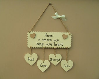 Home is where you hang your heart. Personalised Plaque. Wooden Housewarming gift. Mother's Day Gift, Family plaque
