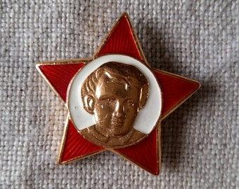 Soviet badge metal pin USSR young little octobrist pin lenin red star gold enameled school uniform badge vintage collectible Russia poster