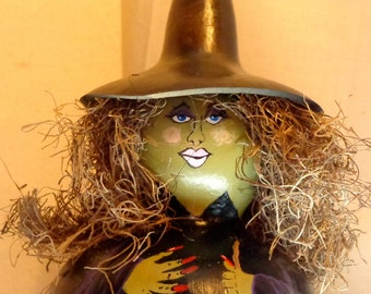 Hand painted gourd art witch with spanish moss  hair and gourd hat by Debbie Easley