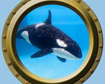 Reusable Orca Whale Porthole Wall Vinyl Fabric High Quality