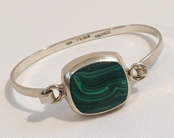 Taxco Mexico Sterling Silver 925 Malachite Hook On Bangle Bracelet Jewelry