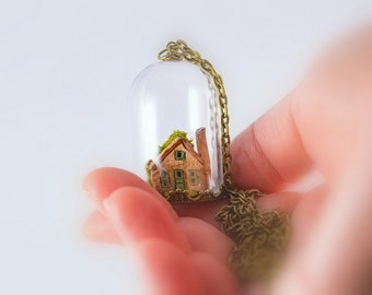 Tiny House Necklace, Glass Cloche Pendant, Clay Cottage, Glass Dome, Miniature House, Diorama Pendant, Miniature Jewelry