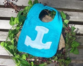 Thor's Hammer Bib for Baby - Aqua and Light Blue- Heathen Pagan Viking Norse Baby Clothing