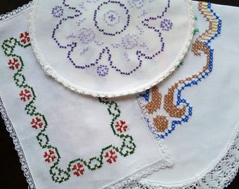 Vintage white embroidered tablecloths cross stitch set of three
