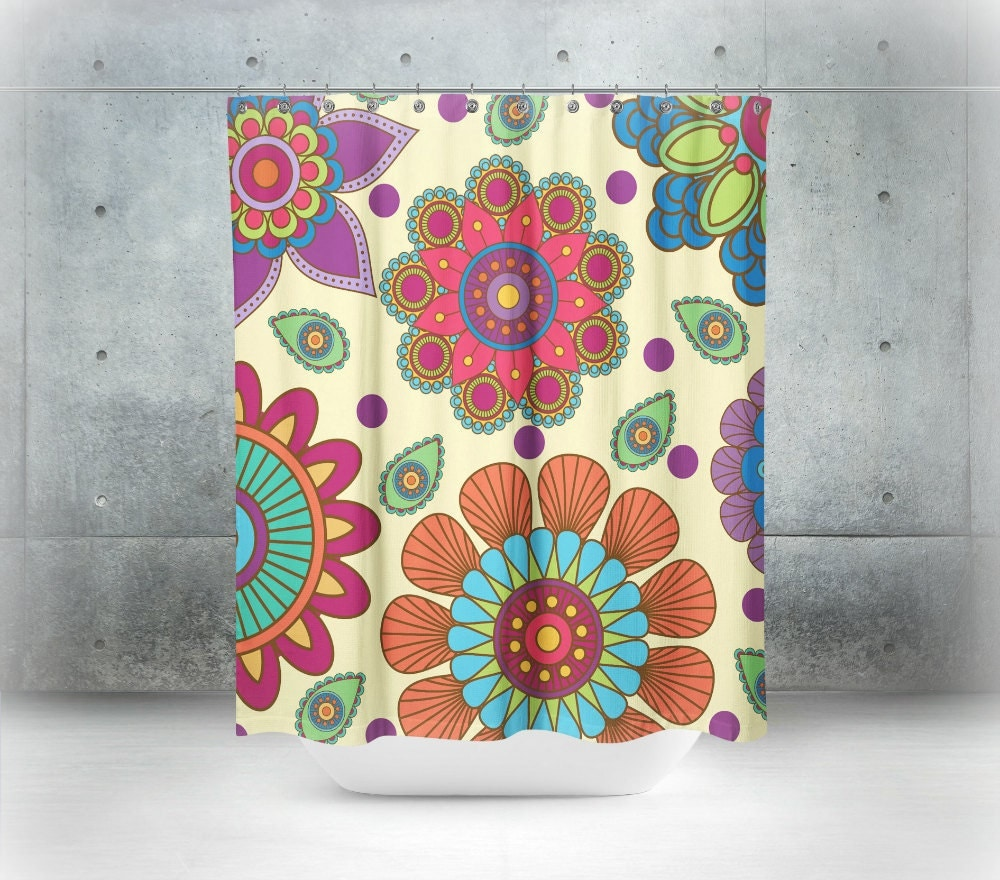 Boho Chic Shower Curtain Mandala Floral Optional By