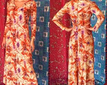 Indian Batik Dress Boho India Dashiki Dress Vintage 70s India Ethnic Batik Dress