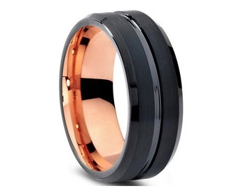 Custom Gunmetal Black Grooved and Rose Gold Plated Tungsten Ring