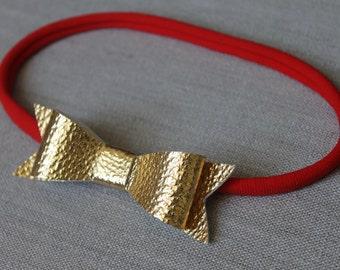 shiny gold bow red nylon headband, baby headband, holiday headband
