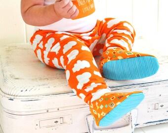 boys harem pants / toddler / baby / slim fit harem pants / summer clothes / organic gender neutral / ORANGE CLOUDS trendy baby pants