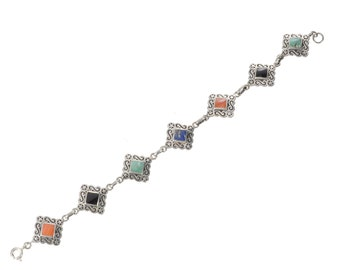 Sterling inlaid with colored stones bracelet square links signed BOMA
