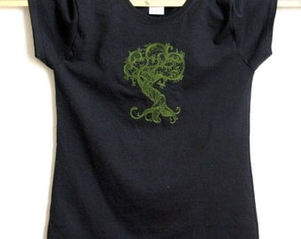 T-shirt, Gnarly Roots machine embroidery, gift for her
