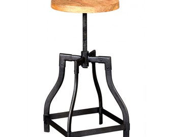 Bonsoni Baudouin Industrial Stool Made From Reclaimed Metal And Wood