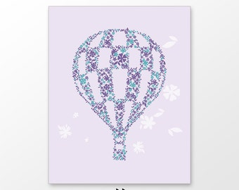 Girls nursery decor, hot air balloon printable , violet lavender floral pattern , digital image x52 502 m325154