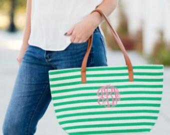 Summer Stripe Bag - Preppy Monogram Tote - Perfect Beach Bag - Navy Stripe Bag - Green Summer Tote