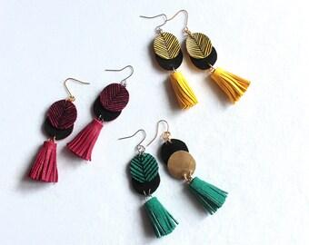 Long Leather Tassel Bright Swinging Earrings. Jade Green , Pink, Warm Yellow
