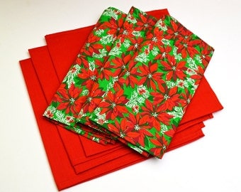 Holiday Napkins Solid Red and Poinsettia Design Cotton Set of 6