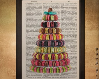Macaron Tower Dictionary Art Print, Food Art Kitchen Art Tier Tree Cone Cookies Macaroons Dessert Wall Art da973