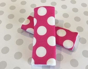 Polkadot Seatbelt Covers, Baby Gilr, Toddler, Pink and White Polkadot, Minnie Mouse, Reversible, Minky, Carseat Strap Covers, Infant