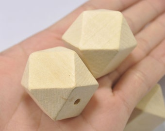 Large Wood Beads - 20PCS 30mm Faceted Wood Beads 14 Hedron Geometric Figure Wooden beads.