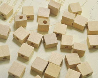50pcs Square wooden beads,Unfinished Chunky Cube Wood Beads,natural wooden finding,12mm wooden bead supply.