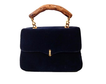 Morris Moskowitz Blue Velvet Tote Purse with Bamboo Handles and Gold Plated Hardware