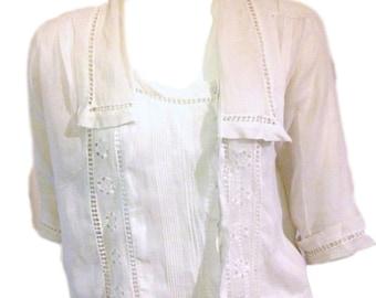 Delicate Lace White Antique Blouse - Size Medium