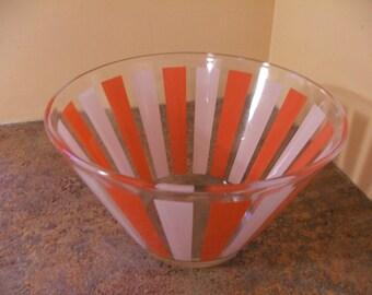 Vintage MOD 1960s / 1970s Orange and White Striped Salad Bowl / Chip Bowl / Serving Bowl