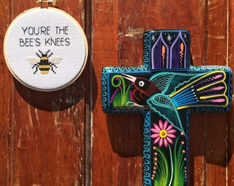 You're The Bee's Knees Cross Stitch in Hoop
