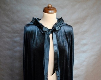 Extra long Gothic Victorian Vampire Elegant Burlesque Lolita black velvet CAPE with big satin hood, tassels, halloweem, prom, goes to ground