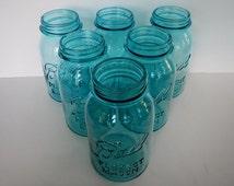 Antique Ball Perfect Mason Quart Jars - 1 left, aqua, c.1923-1933 - canning, retro kitchen, country, farmhouse, cottage, storage, cabin