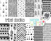 Tribal Digital Paper - hand drawn doodle tribal patterns and feathers in black & white - seamless patterns - scrapbook paper -commercial use