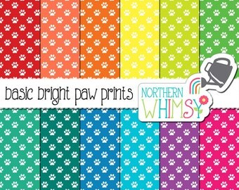 Paw Print Digital Paper – Pet seamless patterns in red, orange, yellow, green, blue, purple & pink – Pet digital paper -  commercial use