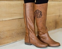 Monogrammed Leather Boots
