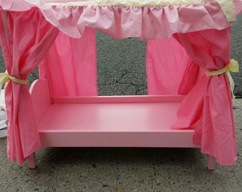 """Vintage Battat Our Generation Discontinued Sweet Dreams Pink Canopy Bed For 18"""" Dolls Or American Girl Doll"""