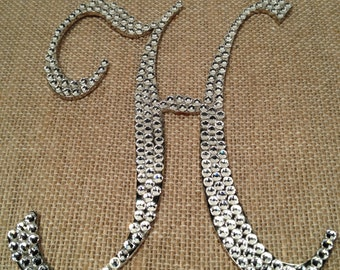 Letter H Wedding Cake Topper, used One Time, Rhinestone Letter H for Wedding Cake Top.