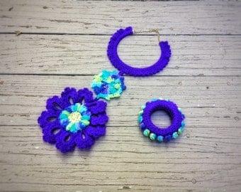 "Crochet Necklace Bracelet Unique Handmade Jewelry Set Purple Chunky Chocker Tribal Free-form Bib Set ""Purple Sunflower"""