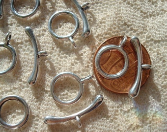 20 Sets Small Silver Toggle Clasps. Smooth Simple Mandarin Style Toggle Clasps. Tiny Hoop 10mm.  19mm TBar.  ~USPS Ship Rates from Oregon