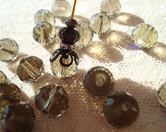 20 Translucent Grey or Smoky Topaz Disco Rounds. 10mm. Multi Faceted Glass. Smoked Topaz Grey Disco Balls   ~USPS Ship Rates From Oregon