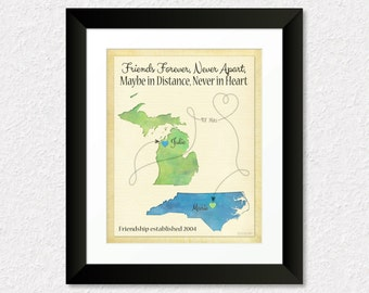 Best Friend Gift, Moving Away Gift for Best Friend, Personalized Friendship Gift Print, BFF Gift, Michigan State Map, NC State Map, Map Art
