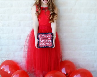 Girls Red Tulle Midi Skirt Sizes 3/4, 4/5, 6/6X, 7/8, 10/12 Ready to Ship