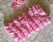 Pink petti romper with pink flower headband (approx 6-9M)