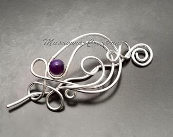 Silver wire Hair slide, Hair Barrette, Hair pin /Hair jewellery /Hair Accessories