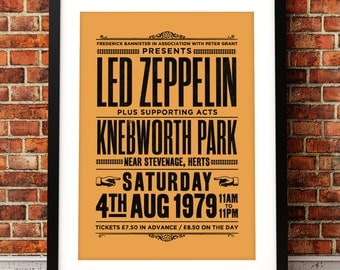 Led Zeppelin inspired concert poster, Led Zeppelin art print, music print, Led Zeppelin, concert poster,70's music, rock music