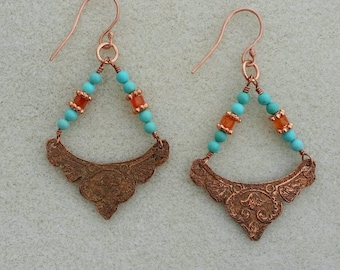 Copper Turquoise and Carnelian Earrings, Etched Copper Earrings, Turquoise Earrings