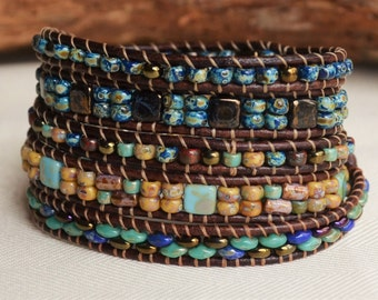 Multicolor Five Wrap Bracelet Handwoven Leather Wrap Boho Bracelet Southwestern  Wrap Around Picasso Beads Wholesale Boutique Jewelry Yevga